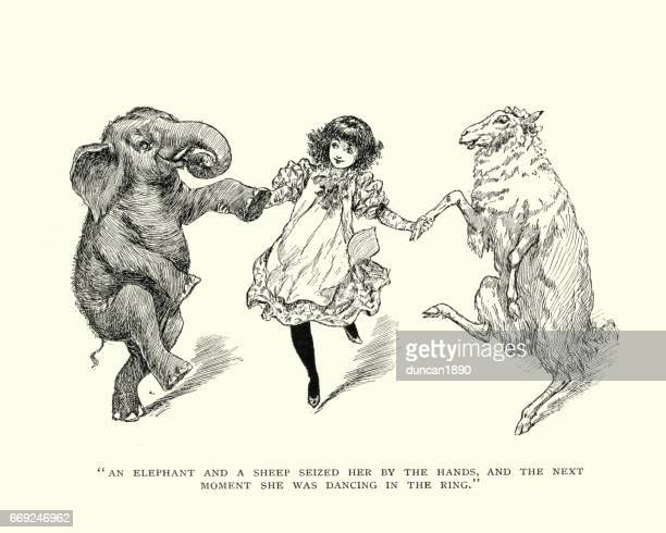 girl dancing with an elephant and a sheep - woodcut stock illustrations