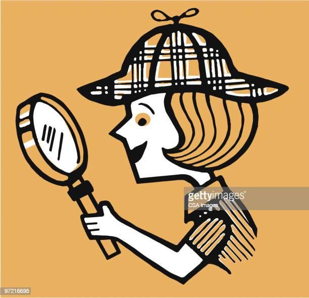 girl detective - inspector stock illustrations, clip art, cartoons, & icons