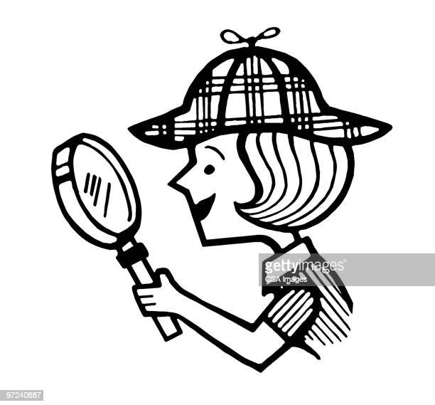 girl detective - detective stock illustrations
