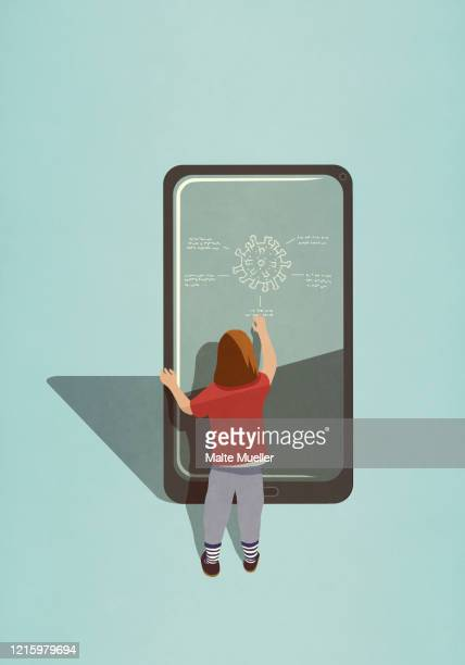 girl diagraming covid-19 coronavirus on large smart phone screen - rear view stock illustrations