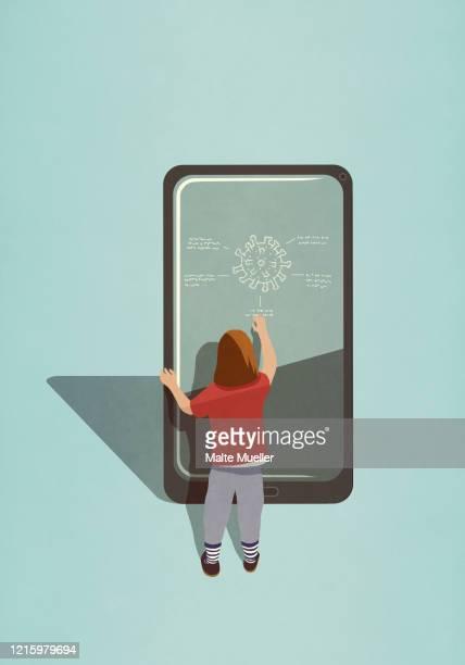 girl diagraming covid-19 coronavirus on large smart phone screen - respiratory disease stock illustrations