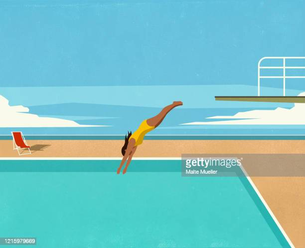 girl diving into swimming pool - illustration stock illustrations