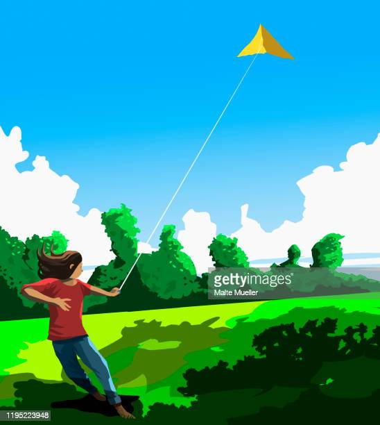 girl flying kite in sunny park - idyllic stock illustrations