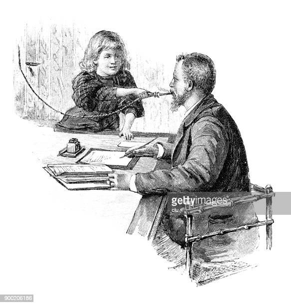 Girl helping father with an electric cigar lighter