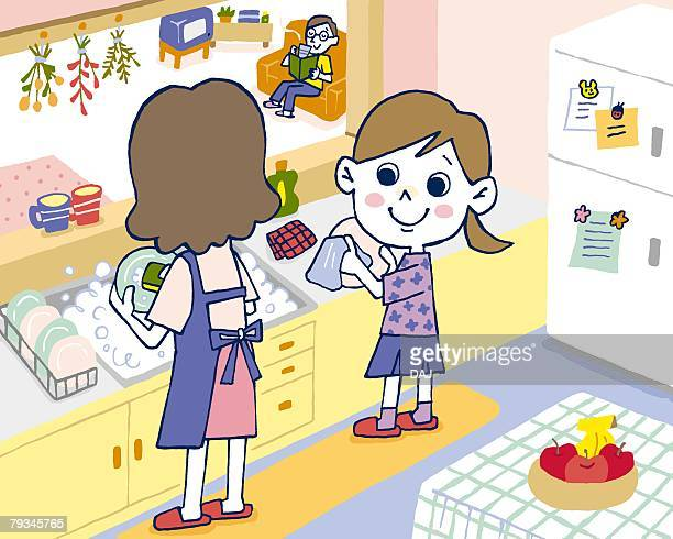ilustraciones, imágenes clip art, dibujos animados e iconos de stock de girl helping mother washing up, painting, illustration, illustrative technique, rear view, high angle view - familia viendo tv
