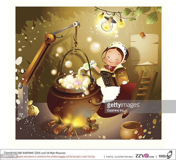 Girl holding a book and cooking food