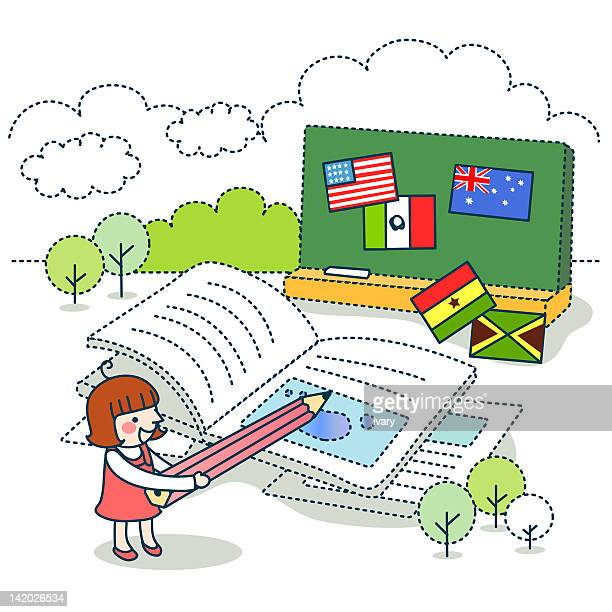girl holding pencil against blackboard with different flags - ghana flag stock illustrations, clip art, cartoons, & icons