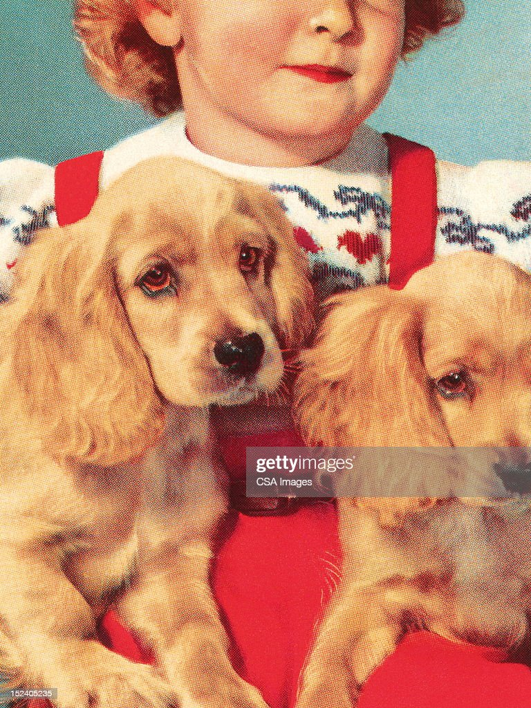 Girl Holding Two Puppies : stock illustration
