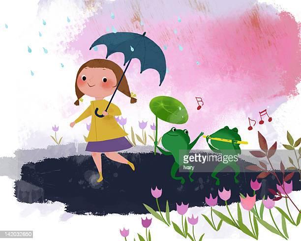 girl holding umbrella walking with froggies on rainy day - monsoon stock illustrations, clip art, cartoons, & icons