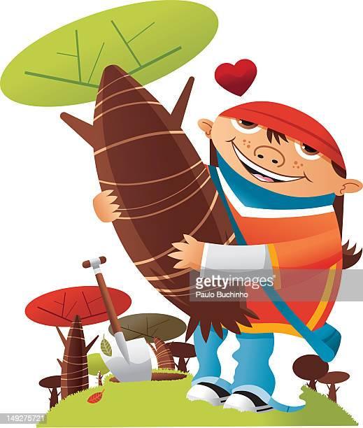 ilustrações de stock, clip art, desenhos animados e ícones de a girl hugging a tree - buchinho