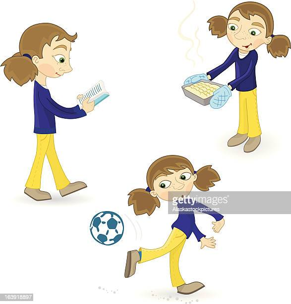 girl (reading, baking and with a football) - making a cake stock illustrations, clip art, cartoons, & icons