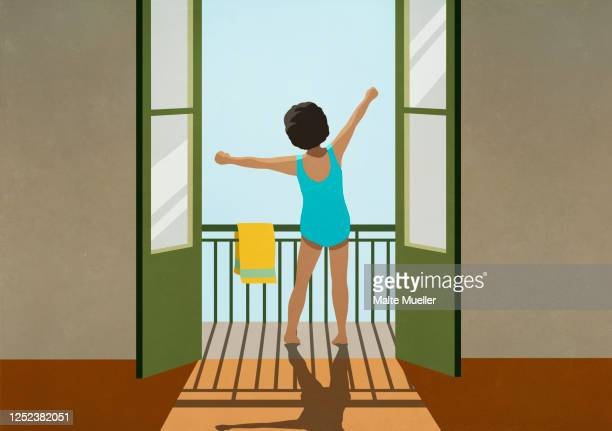 girl in bathing suit stretching arms on sunny balcony - rear view stock illustrations