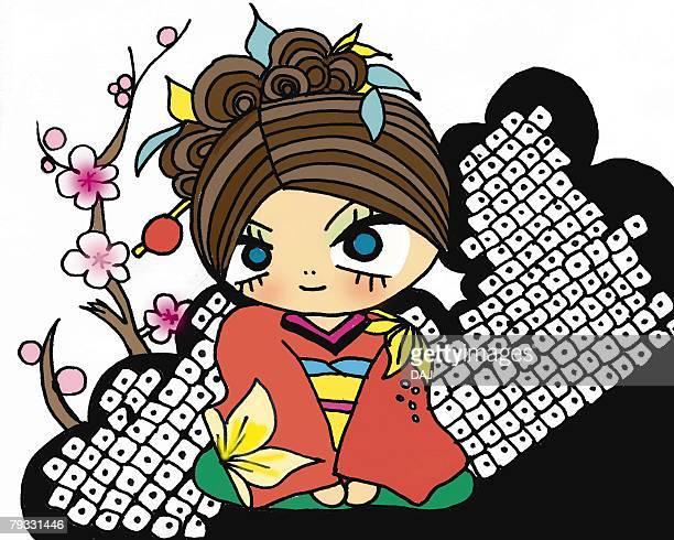 a girl in kimono, illustration, cartoon, portrait - medium group of objects stock illustrations, clip art, cartoons, & icons