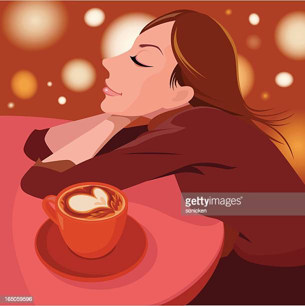 girl in love with coffee