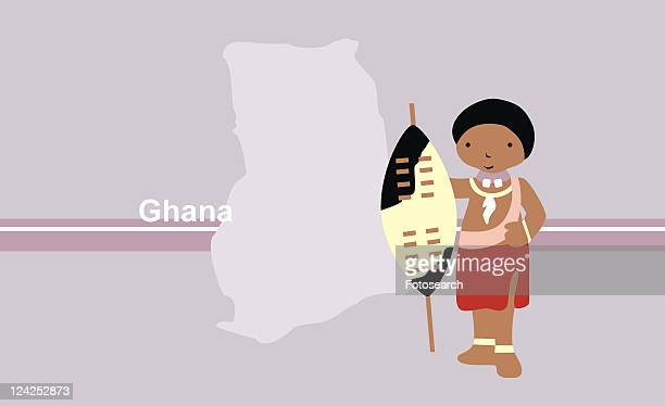 girl in traditional clothing in front of the map of ghana - ghana stock illustrations, clip art, cartoons, & icons