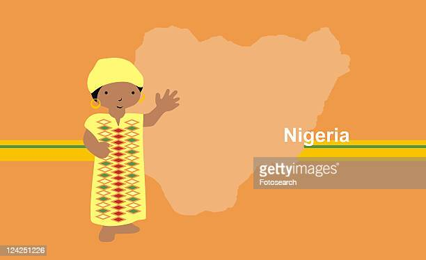 Girl in traditional clothing in front of the map of Nigeria