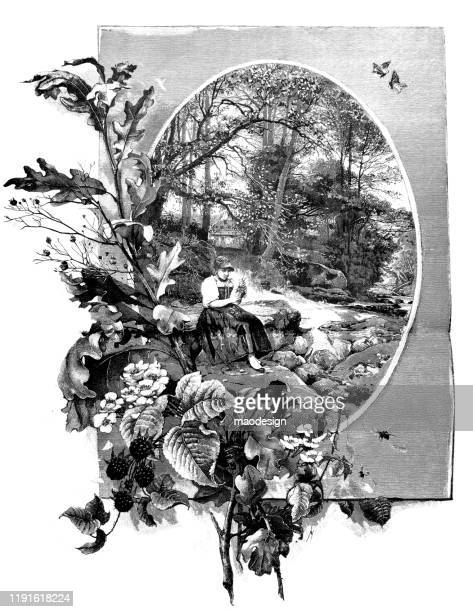 ilustrações, clipart, desenhos animados e ícones de a menina está sentando-se em um parque com um ramalhete das flores - 1887