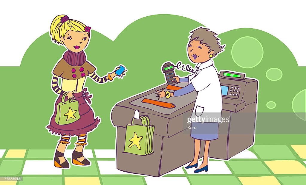 A girl making a purchase : Illustration
