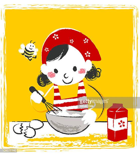 A girl mixing cooking ingredients in a bowl