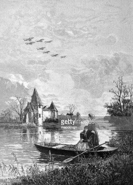 ilustrações, clipart, desenhos animados e ícones de menina em um barco - 1887