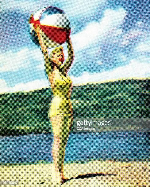 girl on beach with beach ball - swimwear stock illustrations, clip art, cartoons, & icons