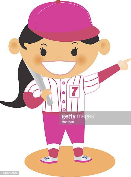 a girl playing baseball - one girl only stock illustrations, clip art, cartoons, & icons