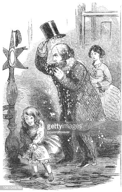girl playing prank on father by filling hat with snow (19th century) - naughty america stock illustrations, clip art, cartoons, & icons