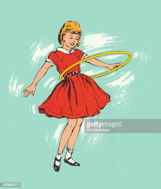 girl playing with a hula hoop - plastic hoop stock illustrations