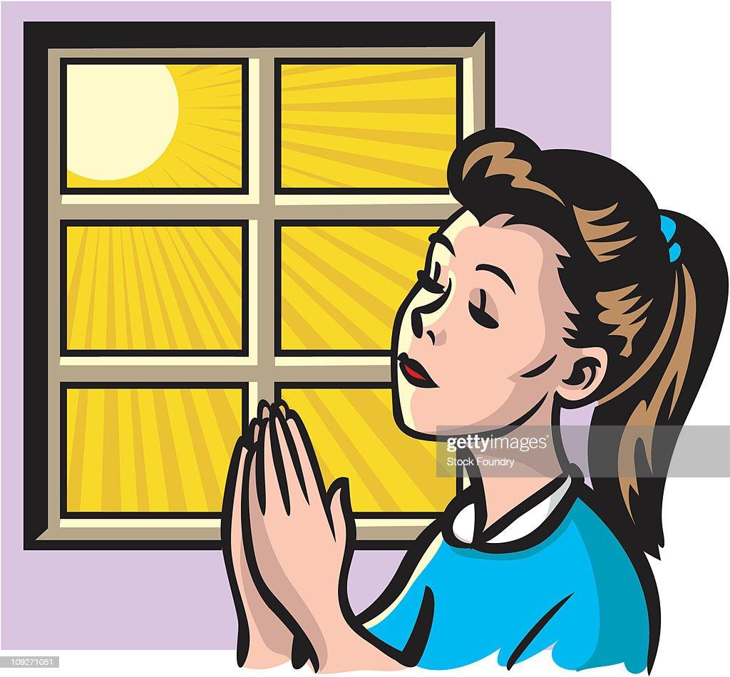 Girl Praying : stock illustration