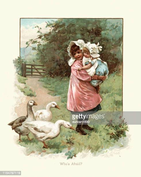 girl protecting her little sister from flock of geese, victorian - goose bird stock illustrations