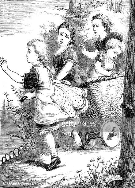 Girl pulls a handcart with children in it