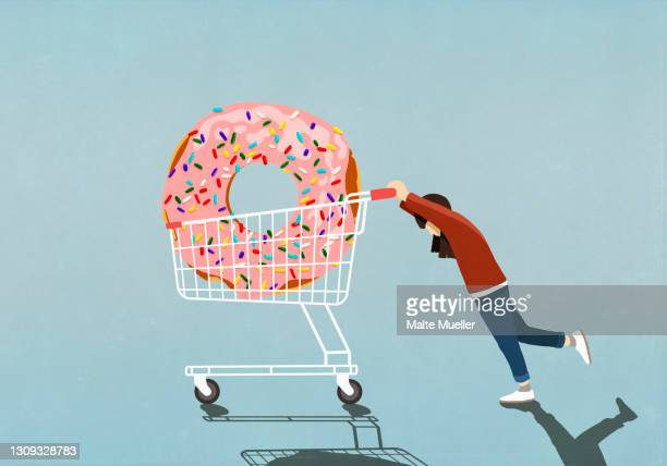 girl pushing large sprinkle donut in shopping cart - diabetes stock illustrations