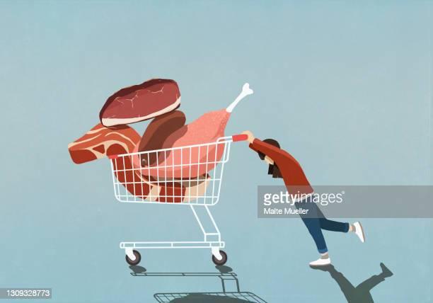 girl pushing shopping cart full of meat - full length stock illustrations