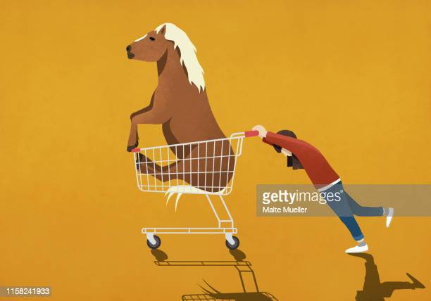 girl pushing shopping cart with pony - consumerism stock illustrations