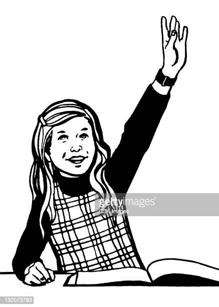 girl raising her hand - one girl only stock illustrations, clip art, cartoons, & icons