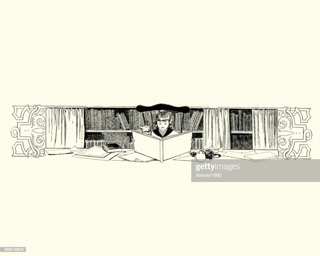 Girl reading a book in a library, 19th Century : stock illustration