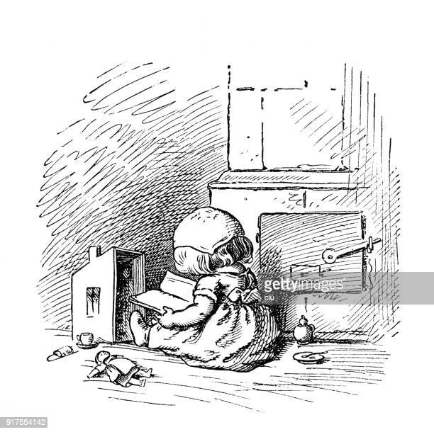 girl reading a book next to oven - puppet stock illustrations, clip art, cartoons, & icons