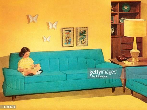 girl リーティングにターコイズ色のソファー - キッチュ点のイラスト素材/クリップアート素材/マンガ素材/アイコン素材