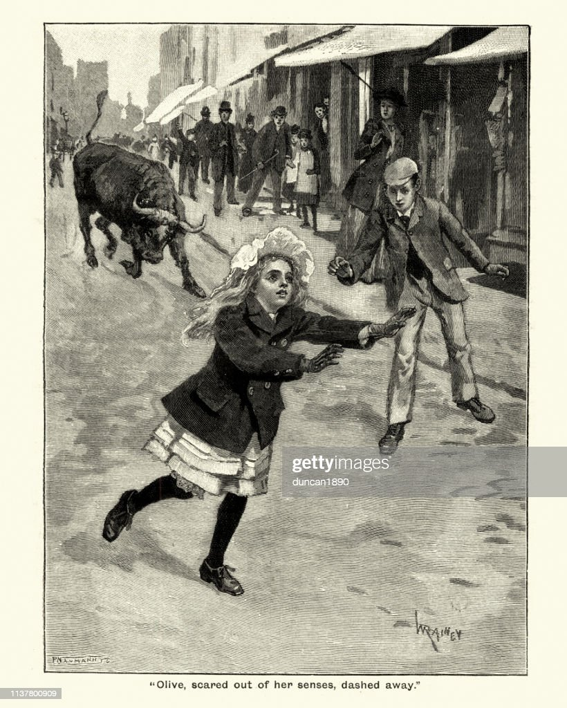 Girl running away from a charging bull, Victorian 19th Century : Stock Illustration