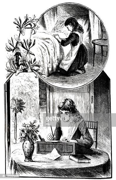 Girl sitting at desk writing and praying at bed