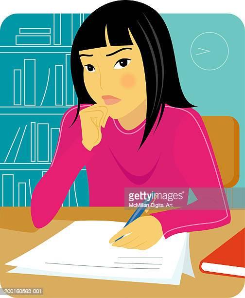 ilustrações de stock, clip art, desenhos animados e ícones de girl sitting at desk writing paper, resting chin on hand - cabelo liso