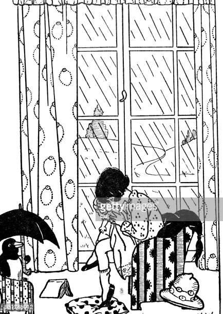外雨が降っている中、部屋で座っている女の子