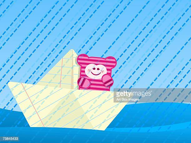 girl sitting on a paper boat in rain - number of people stock illustrations, clip art, cartoons, & icons