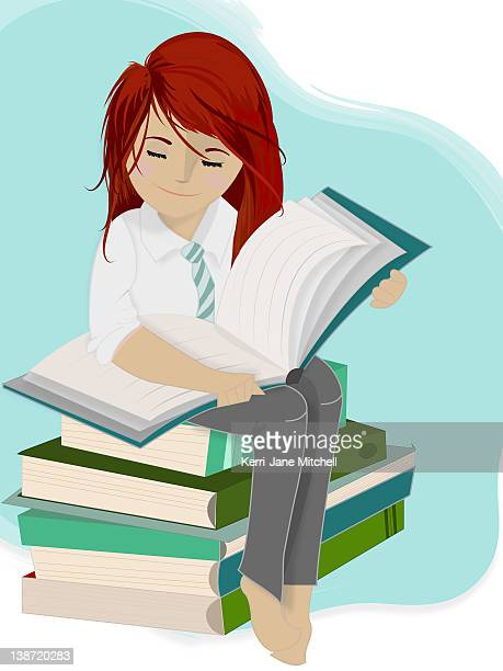 a girl sitting on a stack of books - one teenage girl only stock illustrations