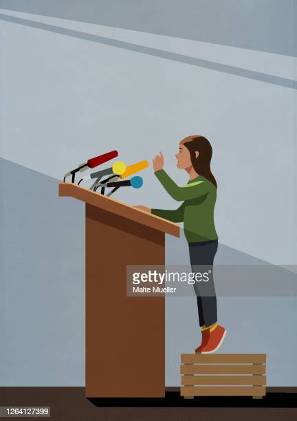 girl standing on crate at podium with microphones - ideas stock illustrations