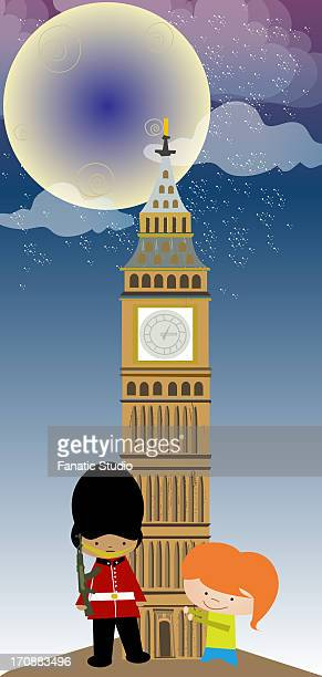 girl standing with an honor guard in front of a clock tower, big ben, houses of parliament, city of westminster, london, england - former stock illustrations, clip art, cartoons, & icons
