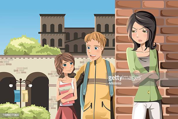 a girl standing with her arms crossed as a couple are walking by - boyfriend stock illustrations, clip art, cartoons, & icons