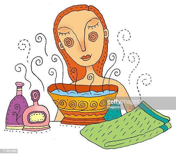 girl steaming her face - aromatherapy stock illustrations, clip art, cartoons, & icons