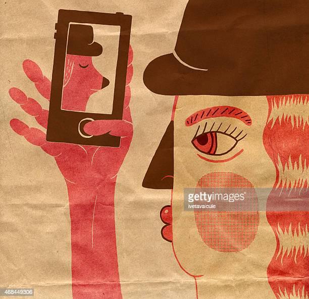 Girl taking selfie on mobile phone
