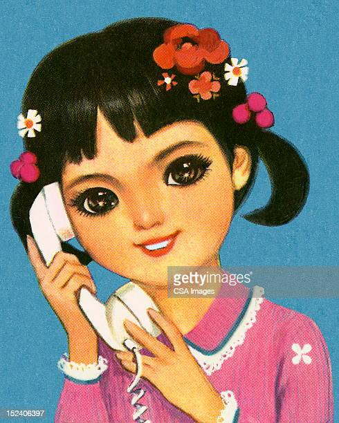 girl talking on telephone - one teenage girl only stock illustrations